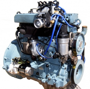 A Mercedes diesel engine converted to run on CNG with an Omnitek system