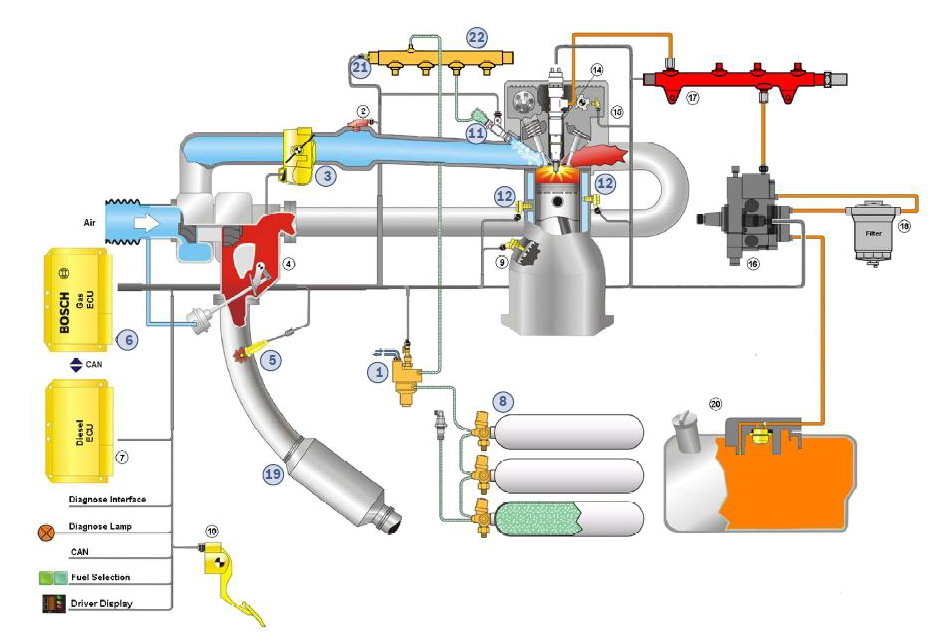 bosch dual fuel future of diesel engines gazeo com rh gazeo com Carbureted Fuel System Diagram Fuel Supply System