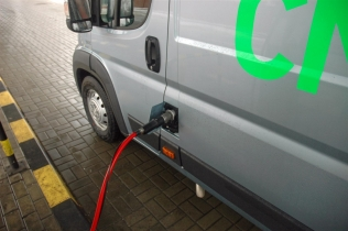 Fiat Ducato Natural Power being refueled at a CNG station