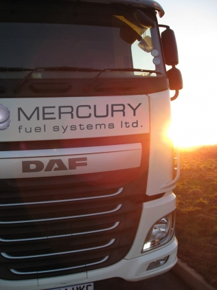 A DAF truck featuring Mercury Fuel Systems' diesel blending LPG system